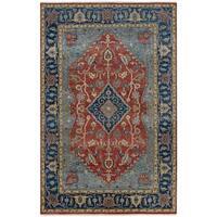 Couristan Tenali Azeri/Rust-Sapphire Wool Area Rug - 5'6 x 8'9