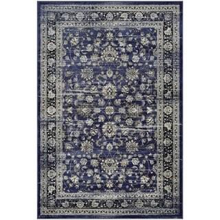 Couristan Zahara Floral Ferahan Navy/Cream Polypropylene Area Rug (5'3 x 7'6)