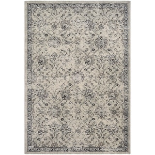 Couristan Traditions All Over Floral Ivory/Black Polypropylene Area Rug (3'11 x 5'3)