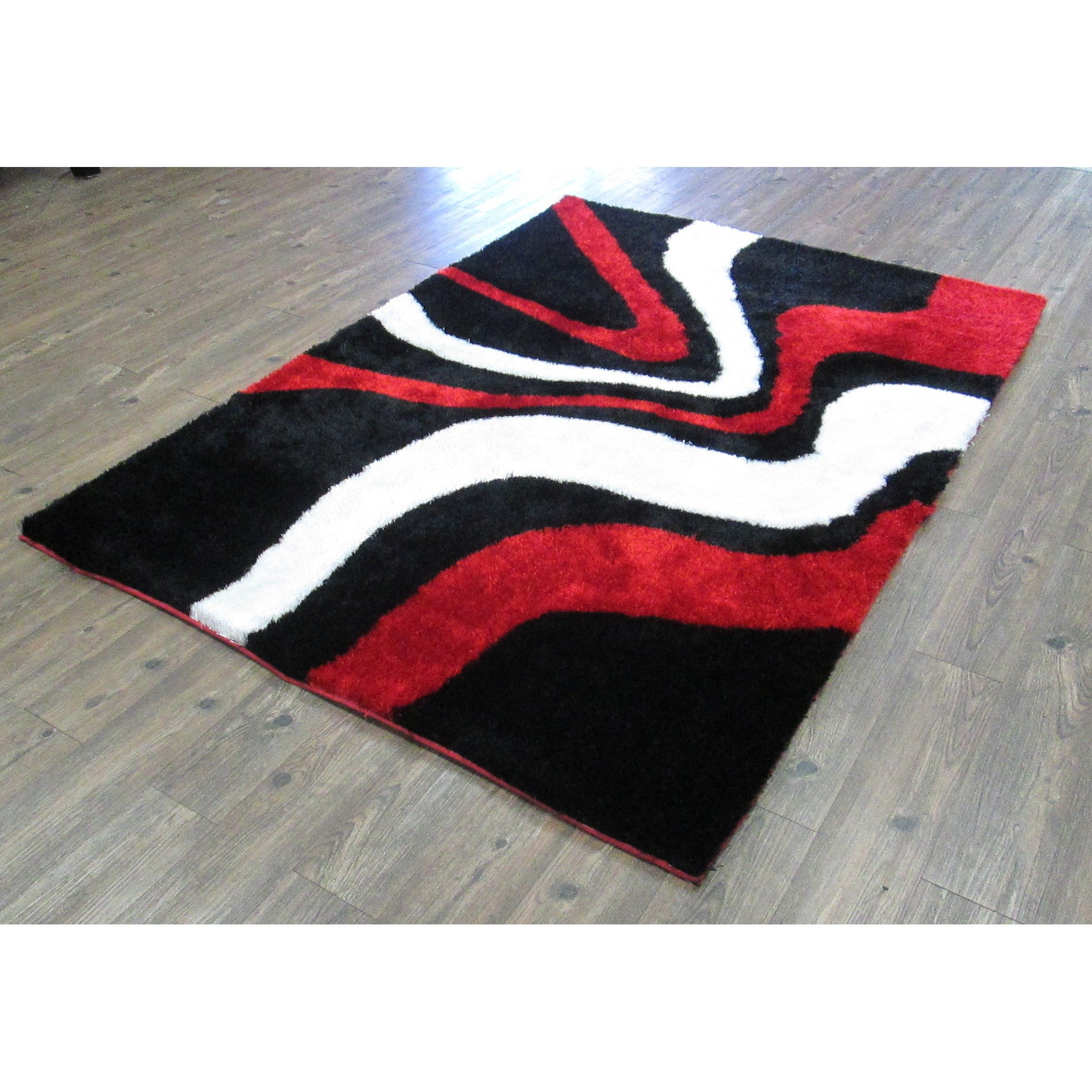 Red White And Black Hand Tufted Modern Area Rug 5 X 7
