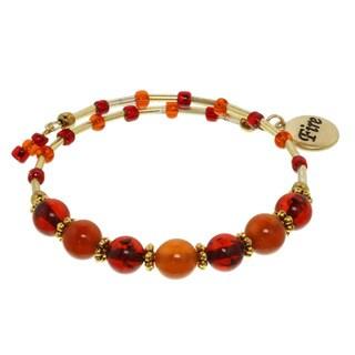 Fire Element Cluster Gemstone Wrap Bracelet
