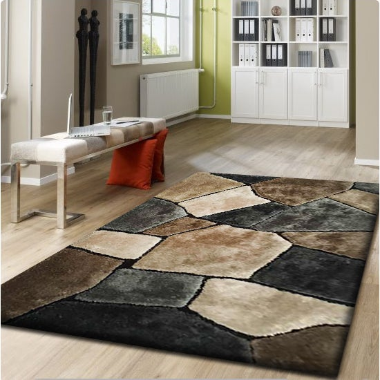 "Brown Beige Silver Grey Hand Tufted Shag Area Rug - 7'6"" x 10'6"""