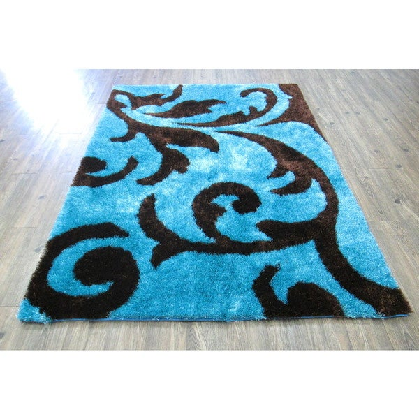 Turquoise And Brown Rug: Shop Turquoise Brown Hand Tufted Modern Shag Area Rug