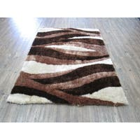 Brown and Beige Hand Tufted Modern Area Shag Rug - 5' x 7'