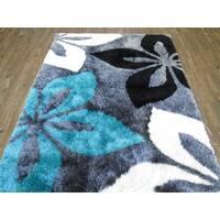 Gray Floral Hand Tufted Shag Modern Area Rug (5' X 7') - 5' x 7'