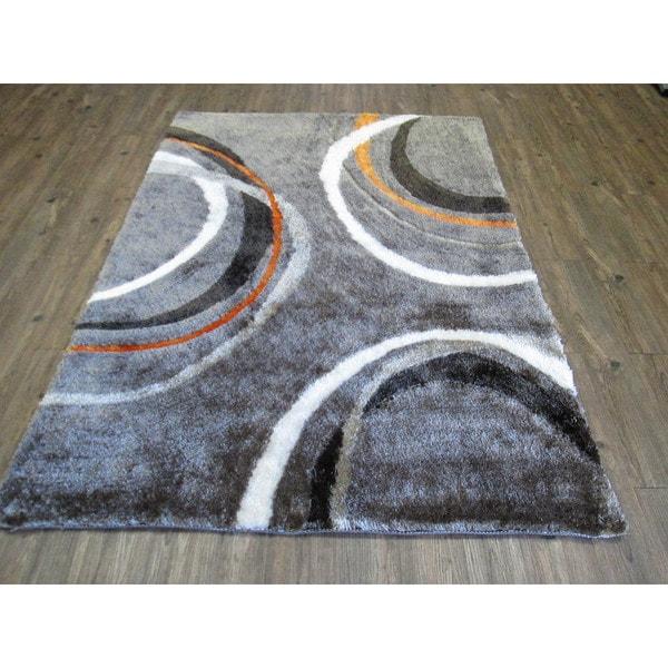 Shop Mocha Orange Geometric Hand Tufted Shag Area Rug 5