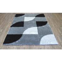 Black Checker Geometric Hand Tufted Shag Area Rug - 5' x 7'