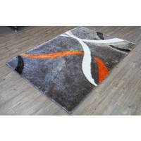Mocha and Orange Modern Hand-Tufted Shag Area Rug - 5' x 7'