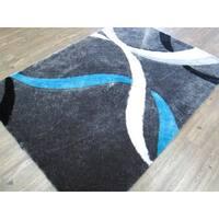 Gray Blue Modern Hand Tufted Shag Area Rug - 5' x 7'