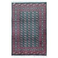 FineRugCollection Hand Knotted Signed Bukhara Green Wool Oriental Rug - 6'3 x 9'5