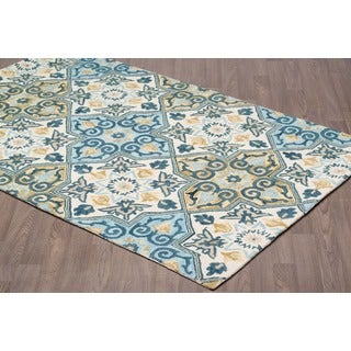 Handmade Heriz Blue Beige Wool Rug (8'x10')