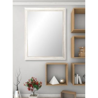 American Value Multi Size White Texture Vanity Wall Mirror - Distressed White