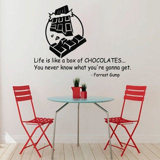 Quotes Box Of Chocolates Kitchen Cafe Decor Vinyl Sticker Home Decor Art Wall Nursery Room Sticker Decal size 44x52 Color Black