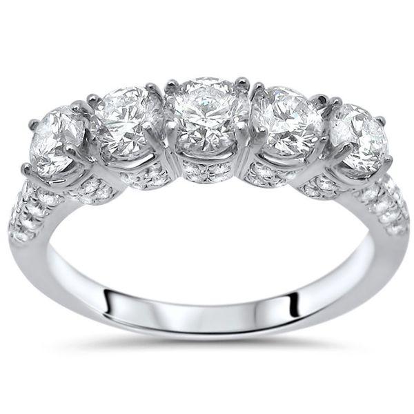 Noori 14k White Gold 1 5/8ct Round Diamond Wedding Anniversary Band
