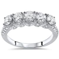 Noori 14k White Gold 1 5/8ct Round Diamond Wedding Anniversary Band - White G-H