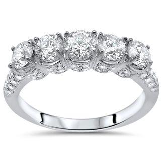 Noori 14k White Gold 1 5/8ct Round Diamond Wedding Anniversary Band - White G-H (More options available)