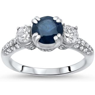 Noori 14k White Gold Blue Sapphire and 5/8ct TDW White Diamond 3 Stone Engagement Ring (G-H, SI1-SI2)