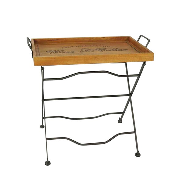 'Daily Wine Tasting' Wooden Rectangular Folding Tray Table