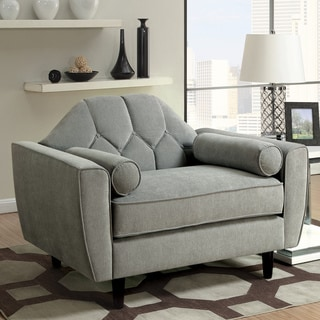 Furniture of America Zerg Contemporary Grey Fabric Button Tufted Chair