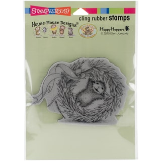 Stampendous House Mouse Cling Stamp 6.5X4.5-Wreath Rolling
