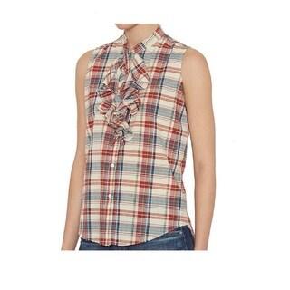 NSF Women's Cotton Plaid Ruffle Sleeveless Blouse