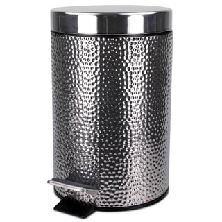 Hammered Stainless Steel Waste Basket With Lid