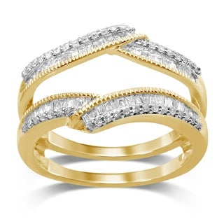 Unending Love 14k Yellow Gold 1/2ct TDW Round and Bageutte Wrap Milgrain Guard Ring