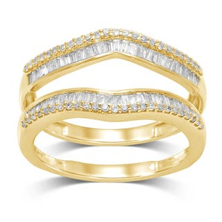 unending love 12ct tw 14kt yellow gold round and baguette wrap guard ring - Wedding Rings Yellow Gold