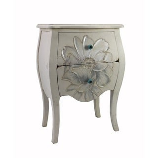 Floral White Wooden End Table