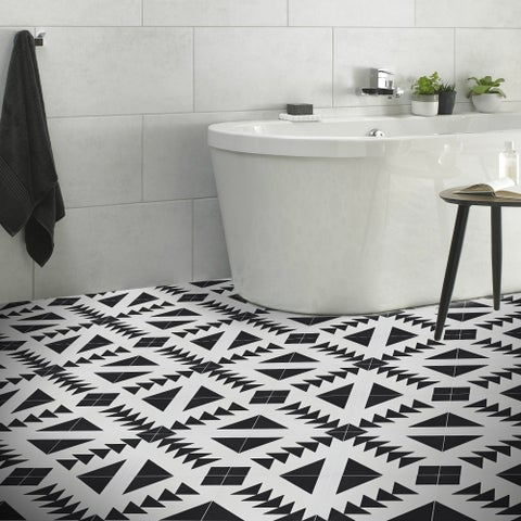 Tadla Black and White Handmade Moroccan 8 x 8 inch Cement and Granite Floor or Wall Tile (Case of 12)