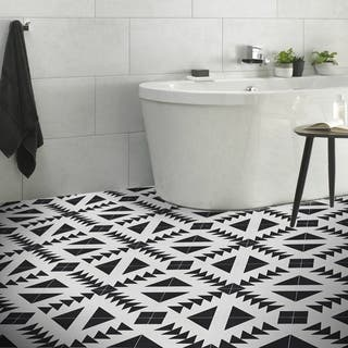 Tadla in Black and White Handmade 8x8-in Moroccan Tiles