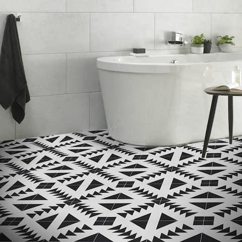 Handmade Tadla in Black and White Tile, Pack of 12 (Morocco)