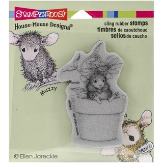 Stampendous House Mouse Cling Stamp 3.5X4-Potted Mouse