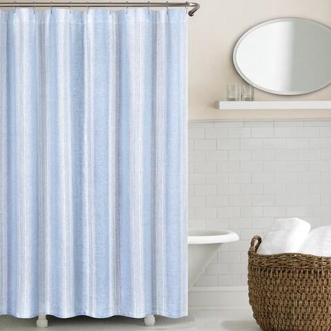 Vintage Stripe Washed Belgian Linen Shower Curtain