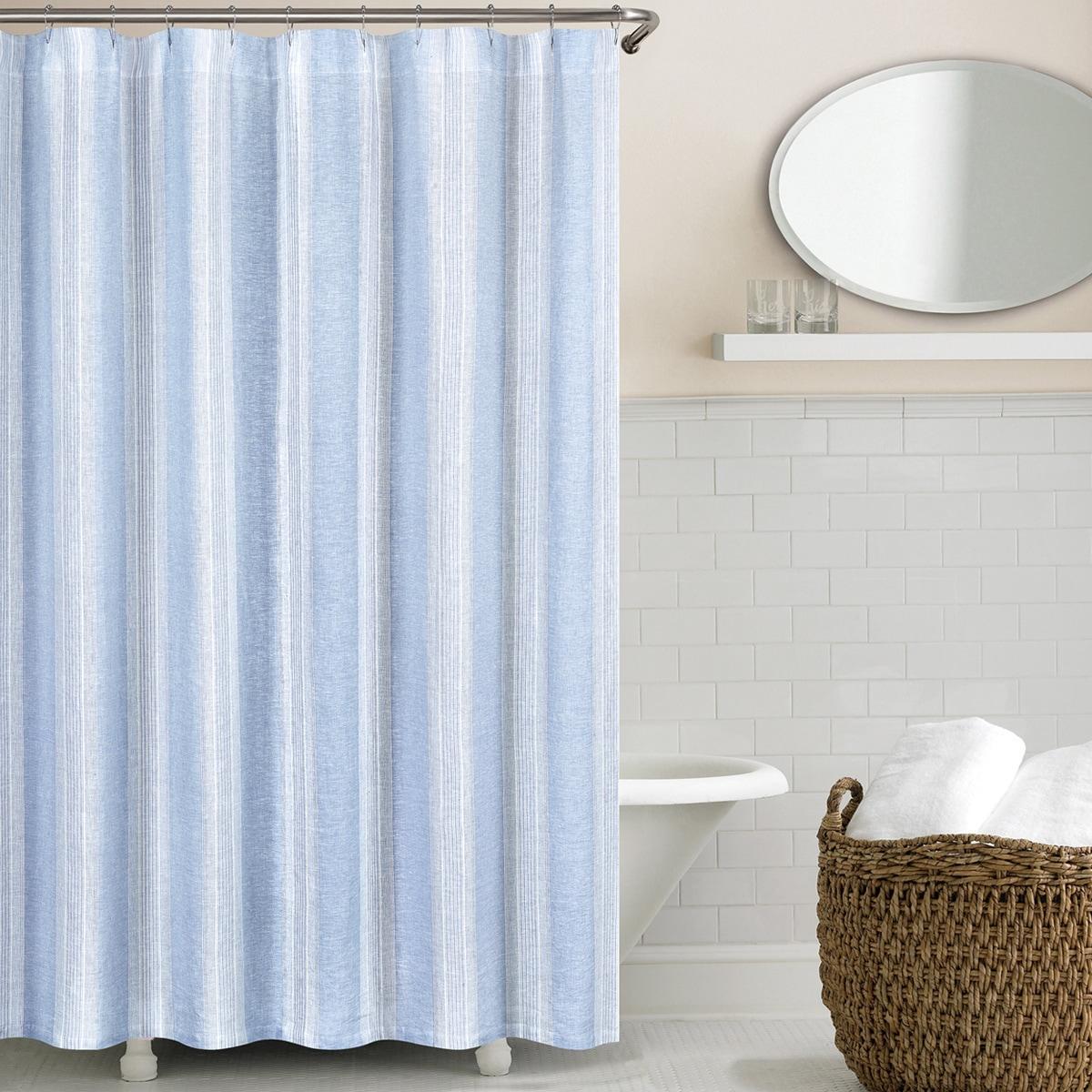 Vintage Stripe Washed Belgian Linen Shower Curtain - Free Shipping ...