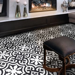 Tanger in White and Black Handmade 8x8-in Moroccan Tiles