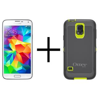 Samsung Galaxy S5 G900A 16GB Unlocked GSM - White + OtterBox Defender