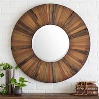 Subotica Inlaid Wood Wall Mirror (36 x 36) - Brown