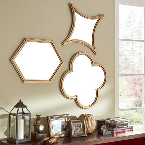 Vega Hexagon Flower Diamond Shape Wall Mirrors Set Of 3 By Inspire Q Bold