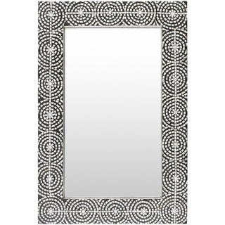 "Agata Mother of Pearl Inlaid Wall Mirror (24 x 36) - Black - 24"" x 36"""