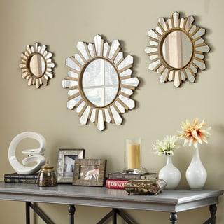 Soledad Gold Sunburst Wall Mirrors (Set of 3) iNSPIRE Q Modern