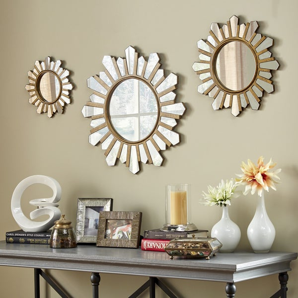 Soledad Gold Sunburst Wall Mirrors Set Of 3 Inspire Q Modern