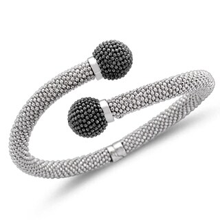 Unending Love Sterling Silver with Black Ball Bypass Mount Bangle