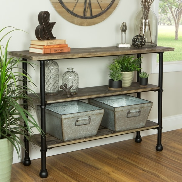 Palmer Distressed Grey Wood 3-Shelf Console Table. Opens flyout.
