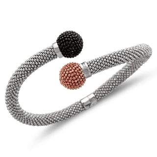 Unending Love Sterling Silver with Black and Pink Ball Bypass Silver Mount Bangle