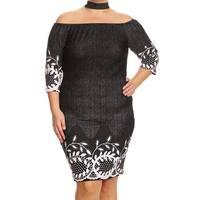 Women's Plus Size Denim and Lace Bodycon Dress