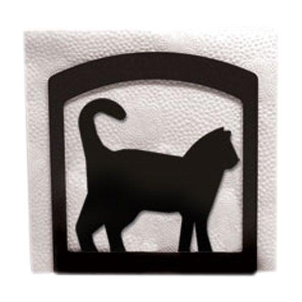 Cat Black Metal Napkin Holder