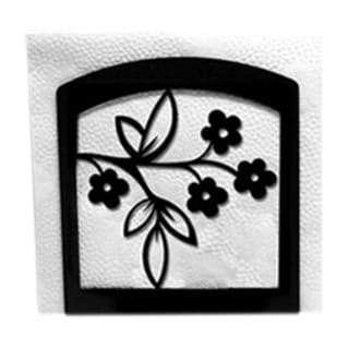 Floral Black Metal Napkin Holder