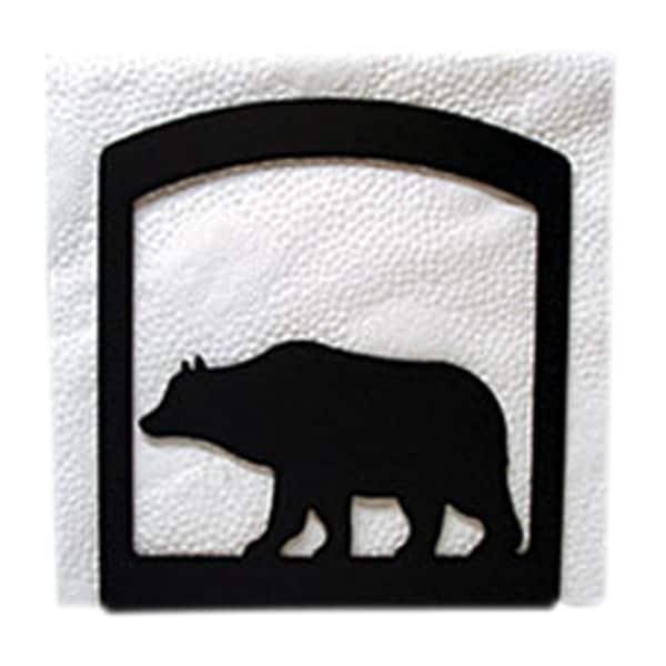 Bear Black Metal Napkin Holder