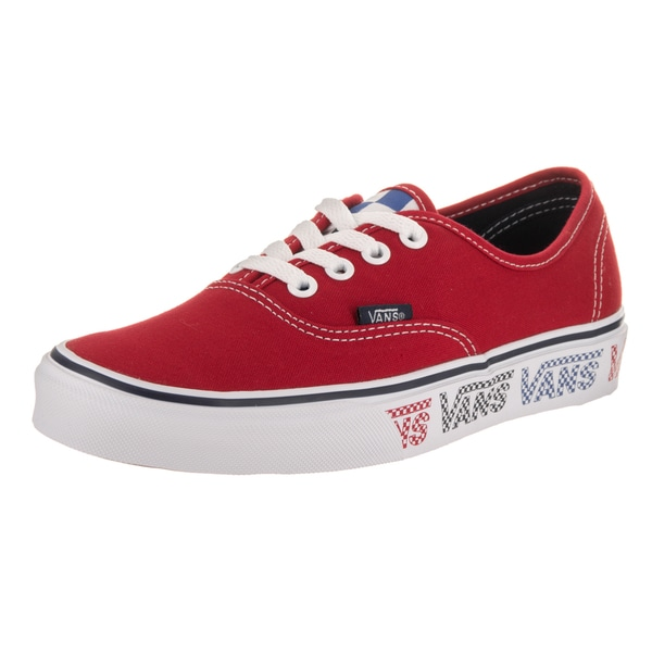6ea821f8bf61 Shop Vans Unisex Authentic Checker Tape Red Canvas Skate Shoe - Free ...